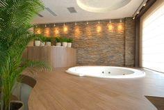 Platform Bath Showcase your bathtub by elevating it onto a raised platform.