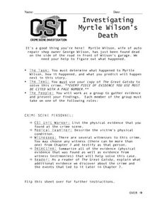 In Chapter 7 of The Great Gatsby, we learn that Myrtle Wilson is struck and killed by a speeding car.  This in-class activity asks students to work in groups and assume different roles to investigate the circumstances surrounding Mrs. Wilson's death and to predict what will happen next in the novel.