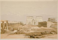 David Roberts - Grand Approach to the Temple of Philoe, Nubia Ancient Egypt Pharaohs, Ancient Civilizations, Old Egypt, Egypt Art, Egyptian Drawings, Art Painting Images, Fantasy World Map, Chicano Art, Environment Design