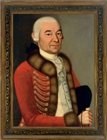 German School, 18th Century, Portrait of a nobleman, wearing a fur lined red coat