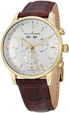 Alexander Statesman Chieftain Men's Multi-function Chronograph Brown Leather Strap Yellow Gold Plated Swiss Made Watch A101-03  #A10103 #Alexander #Brown+ #Chieftain #Chronograph #gold #Leather #Made #Men's #MultiFunction #Plated #Statesman #Strap #swiss #Watch #yellow MonitorWatches.com