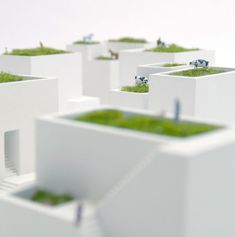 """Ienami Bonkei planters by Metaphys. Tiny """"grass roof"""" planters, only 10cm-cube!"""