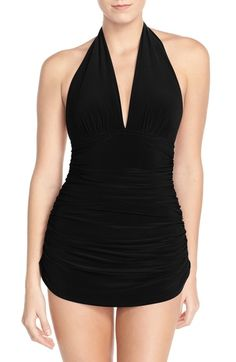 84b78aa5dff5a Magicsuit®  Yvonne  Halter One-Piece Swimsuit available at  Nordstrom  Plunging One