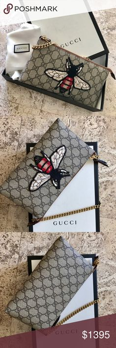 GUCCI | GG Supreme Bee Wristlet / Limited Edition Brand new, never been worn. Gucci GG Supreme Chain Wristlet. Limited edition canvas with Bee embroidery. Only available in Europe. Dustbag + box included! Gucci Bags Clutches & Wristlets