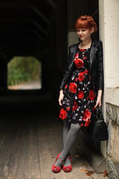 The Clothes Horse | red & black floral open back sleeveless sun dress + jacket + grey tights + heels + bag | fall autumn style