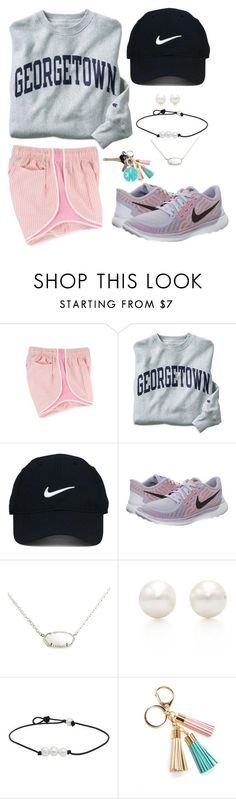 georgetown//gingham//grey by molliekatemcc ❤ liked on Polyvore featuring Champion, Nike Golf, NIKE, Kendra Scott, Tiffany  Co., Avon, Moon and Lola and mksfavs