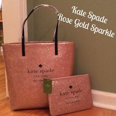 "NWT  Kate Spade. ""Holiday Drive Bon Shopper"" Only Kate Spade!!!  Holiday Drive Bon Shopper. Beautiful Rose Fold Sparkle Parent PVC. Dual shoulder straps w/8.5"" drop. 14-kt light gold plated hardware. Interior has the signature Kate Spade New York printed fabric.  Dual interior slide pockets. Measures 13.5""x12.5""x5"". Priced to sell. Bundle with the Holiday Drive Pouch and save $$$. kate spade Bags Totes"