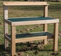 We love this potting table. Made in the USA of high quality materials. The top is easy to keep clean. Comes with wheels.