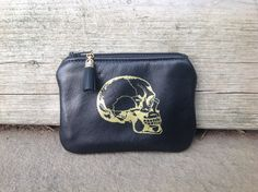 Mini Black and Gold Skull Pouch with Tassel by VeronaBlack on Etsy