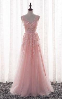 7d75eac9296 Sleeveless V Neck Long Beaded Tulle Dress Junior Prom Dresses