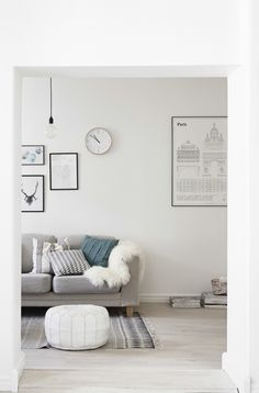 Scandinavian living room in soft hues