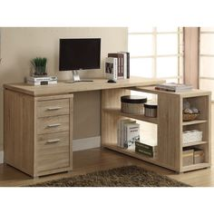 This stylish desk has a natural reclaimed-looking finish and offers plenty of space to store your things. This corner desk can be configured with the drawers on the left- or right-hand side.