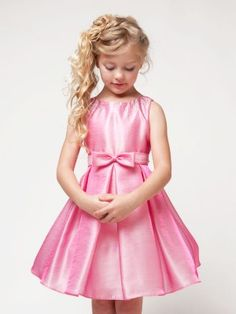 Tinkerbell Pink Lovely Bow with Embellished Neckline Flower Girl Dress (Sizes Infant-12 in 3 Colors)