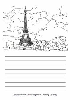 Story Paper  and coloring page of the Eiffel Tower, Paris