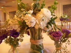 Flowers, Reception, White, Centerpiece, Blue, Purple, Laras theme