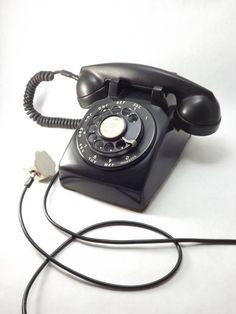 Super cool Vintage Black Desk Phone Western Electric FIW by ForsythiaHill