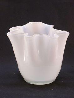 Empoli Moretti White Cased Glass Folded Handkerchief Style Vase Vintage 1970's