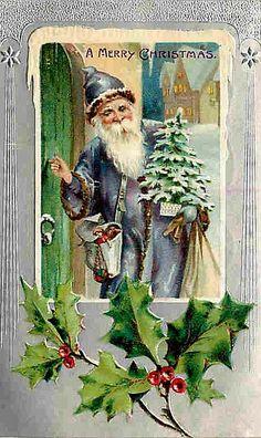Vintage Santa Christmas Card ~ Purple Robe