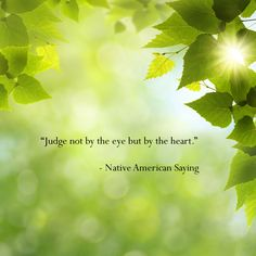 Judge not by the eye but by the heart. - Native American Saying