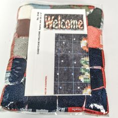 Mary Maxim Chirstmas Candycane Welcome Rug Latch Hook Kit Navy Candy Cane Sealed #MaryMaxim Welcome Banner, Sewing Machine Embroidery, Candy Cane, Seal, Mary, Rugs, Christmas, Photographs, Products