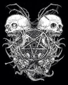 Satanic Tattoos, Satanic Art, Arte Horror, Horror Art, Estilo Heavy Metal, Celtic Dragon Tattoos, Totenkopf Tattoos, Evil Art, Dark Artwork