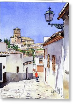San Bartolome Albaicin Granada Greeting Card by Margaret Merry Watercolor Sketchbook, Easy Watercolor, Watercolor Illustration, Watercolor Architecture, Watercolor Landscape Paintings, Easy Paintings, Beautiful Paintings, Diy Canvas Art, Urban Sketching