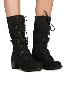 Everyday perfection with this Black soft faux leather lace up boot with stacked block heel. Has three adjustable buckles and size zip for easy closure. Wear this Grunge Combat boots with any normcore outfit. Runs a little big. For example if you are a size 8.5 please take a size 8. *100% soft faux leather*2.5