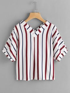 Shop Double V Neckline Stripe Blouse online. SheIn offers Double V Neckline Stripe Blouse & more to fit your fashionable needs. Woman Outfits, Teen Fashion Outfits, Fashion Clothes, Girl Fashion, Casual Outfits, Cute Outfits, Womens Fashion, Fashion Black, Fashion Fashion