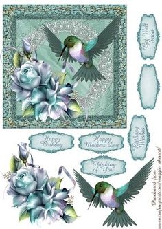 Hummingbird and Rose 3 Quick Card Front  on Craftsuprint designed by Maggie Skerrett - Beautiful 6 inch card front featuring a Hummingbird with roses on a background of satin and lace.  - Now available for download!