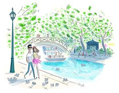 C'est parti pour une petite promenade. Illustration Parisienne, Paris Illustration, Woman Illustration, Illustration Sketches, Illustration Photo, Girl Illustrations, Paris Canal, Paris Wallpaper, Beautiful Sketches
