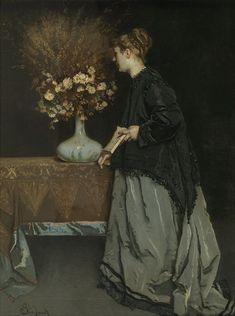 """Alfred Stevens: """"Autumn Flowers"""" 1867, oil on canvas, Musées royaux des beaux-arts de Belgique,  Bruxelles  - Google Art Project.jpg"""
