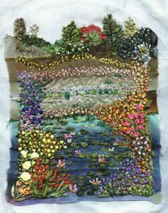 ♒ Enchanting Embroidery ♒ embroidered garden.