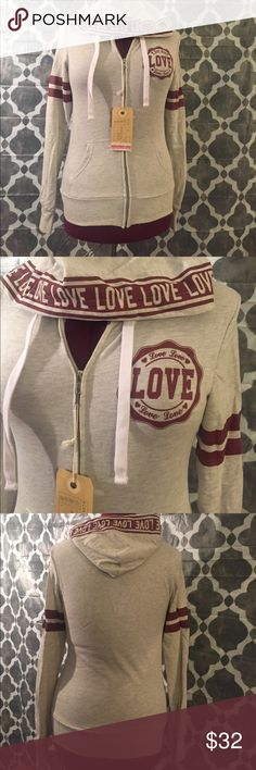 NWT Reflex Love Zip Up Hoodie Cute hoodie with burgundy and gray color. It is not lined with fleece so it is very lightweight. I love this sweater but have too many and never wore this one. Other