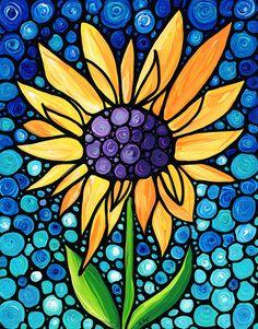 Arte girasol alto cielo azul pintura flor Floral jardín mosaico Sharon Cummings de pie obra de amor vidrieras mirada paisaje amarillo