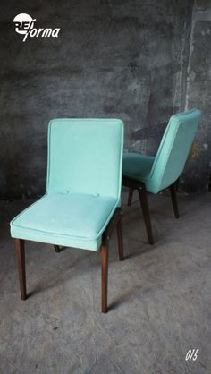 Polish vintage mint chair (Aga) renovated by REforma Polish design, polski dizajn, polskie wzornictwo, made in Poland. Pinned by #AdrianWerner