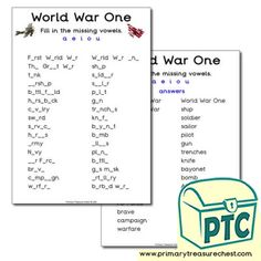World War One Teaching Activities, Teaching Ideas, Vowel Worksheets, Ourselves Topic, World War One, Role Play, Crafts For Kids, Teacher, Children