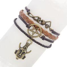 Supernatural Amulet Pentagram Skeleton Bracelet