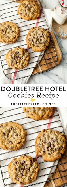 DoubleTree Cookie Recipe - The Little Kitchen DoubleTree Hotel Chocolate Chip Cookies thelittlekitch Cookie Desserts, Just Desserts, Cookie Recipes, Delicious Desserts, Dessert Recipes, Yummy Food, Dessert Food, Pumpkin Dessert, Pumpkin Cheesecake