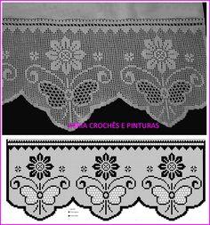 Barrados de crochê filé para toalhas e panos de copa, confeccionados com linha Mercer .
