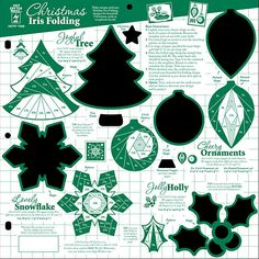 "Christmas Iris Folding Template With this fun 12""x12"" Christmas Iris Folding template you will create 5 different folded Christmas Iris design accents for beautiful card or scrapbooking focals! The Jolly Holly, Lovely Snowflake, Joyful Tree and two Cheery Ornament designs will give you an accent for every occasion"
