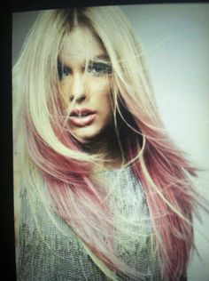Pink ombre with platinum blonde