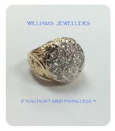 14K men's gold dome ring with 20 diamonds in white gold setting. #williamsjewellerstoronto