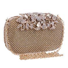 Flower Crystal Evening Bag Clutch Bags Lady Wedding Purse Rhinestones Handbags Silver/Gold/Black