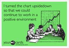Funny Confession Ecard: I turned the chart upsidedown so that we could continue to work in a positive environment.
