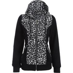 Zip Up Leopard Panel Hoodie (220 NOK) ❤ liked on Polyvore featuring tops, hoodies, leopard print top, hooded pullover, sweatshirt hoodies, zip up top and hooded zip up sweatshirt