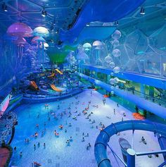 After the amazing success of the Water Cube in Beijing for the 2008 Summer Olympics, the aquatic center has been transformed into an incredible (and massive) indoor water park.