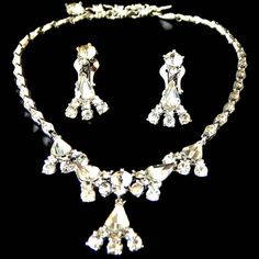 Bogoff Rhinestone Necklace and Earrings Set by EclecticVintager