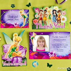 "What fairy doesn't ♥ a card from Tink? Say ""please"" and ""thank you"" with custom invites and thank you notes. Don't forget the pixie dust…a.k.a. confetti!"