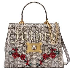 Gucci Iside Snakeskin Top Handle Bag (€4.775) ❤ liked on Polyvore featuring bags, handbags, snake skin purse, floral print handbags, gucci bags, top handle bags and gucci handbags