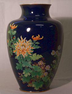Japanese Cloisonne Enamel Vase with Chrysanthemums. ca.1890-1920.